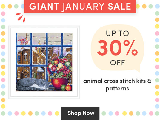 Up to 30 percent off animal cross stitch kits & patterns!
