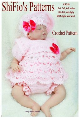Crochet Pattern baby girl beret , angel top & pants UK & USA Terms #319