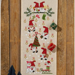 Permin Christmas Fun Advent Calendar Cross Stitch Kit - 32cm x 71cm