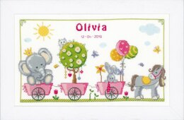 Vervaco Cute Animal Parade Cross Stitch Kit -  41cm x 24cm