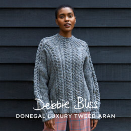 """ Morag "" - Jumper Knitting Pattern For Women in Debbie Bliss Donegal Luxury Tweed Aran by Debbie Bliss"