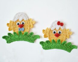 Baby Chicks. Crochet Applique. Little Chicken Embellishment