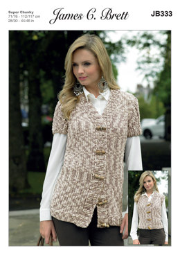 Ladies Waistcoats in James C. Brett Flutterby Animal Prints Super Chunky - JB333 - Leaflet