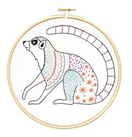 Hawthorn Handmade Ring Tailed Lemur Embroidery Kit - 7in