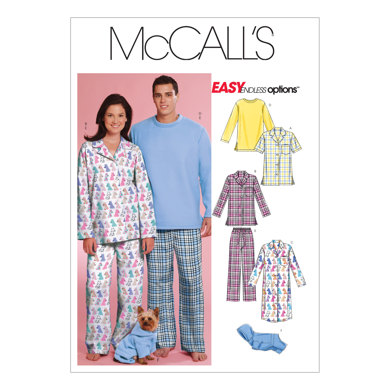 McCall's Misses'/Men's/Teen Boys' Tops, Nightshirt, Pants and Sweatsuit For Dog M5992 - Sewing Pattern