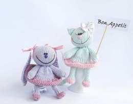 Lilac Bunny and Light pastel green Cat for keeping warm breakfast eggs