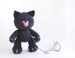 Violet Cat with White Mouse  (knitted round)
