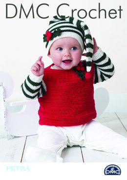 Baby Jumper with Hat in DMC Petra Crochet Cotton Perle No. 3 - 15411L/2 - Leaflet