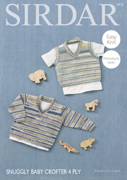V Neck Sweater and Tank Top in Sirdar Snuggly Baby Crofter 4 Ply - 4712 - Downloadable PDF