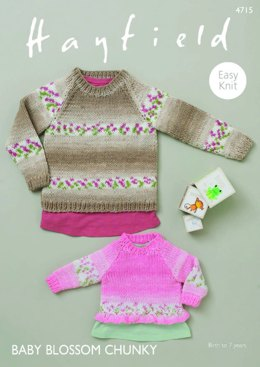 Sweaters with Bell and Rib Edging in Hayfield Baby Blossom  Chunky - 4715  - PDF