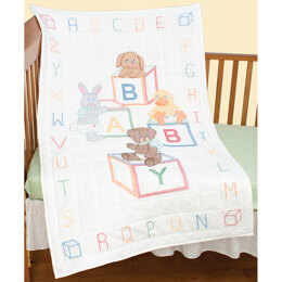 Jack Dempsey Baby Blocks Stamped Cross Stitch Crib Quilt Top - 40 x 60 inches