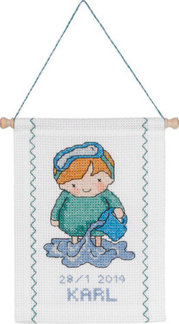 Permin Aquarius Baby Star Sign Cross Stitch Kit - Multi