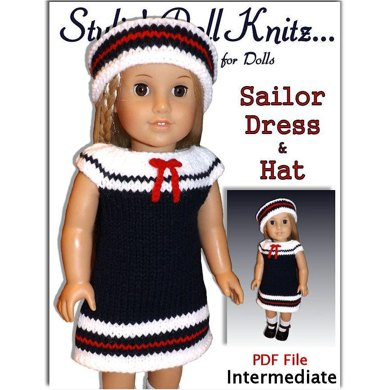 Sailor Set. Fits American Girl Doll and 18 inch. Knitting.