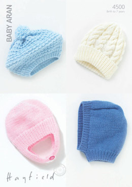 Baby/Childs Boys and Girls Hats in Hayfield Baby Aran - 4500 - Downloadable PDF