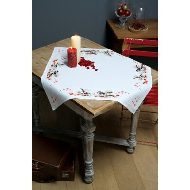Vervaco Long-tailed Tits & Red Berry Tablecloth Cross Stitch Kit -  80cm x 80cm
