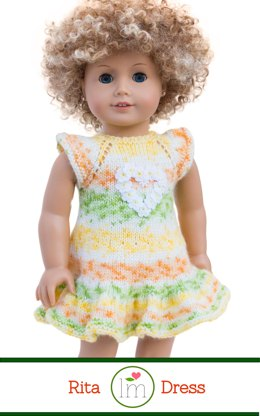 Rita dress for 18 inch dolls. Doll Clothes Knitting Pattern.