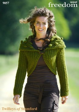 Knitted Cabled Collar Bolero in Twilleys Freedom Wool - 9057