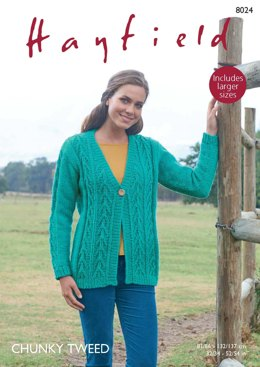 V Neck Cardigan in Hayfield Chunky Tweed - 8024 - Downloadable PDF