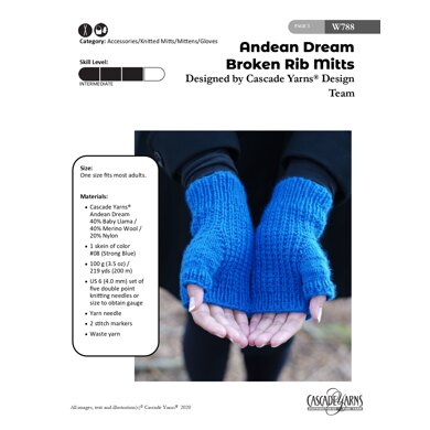 Broken Rib Mitts in Cascade Yarns Andean Dream - W788 - Downloadable PDF