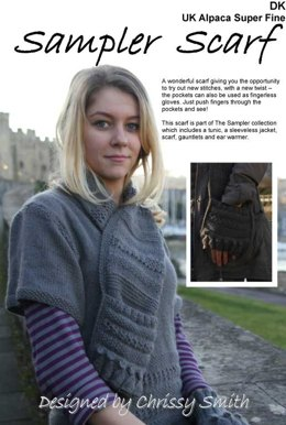 Sampler Scarf in UK Alpaca Super Fine DK (Downloadable PDF)