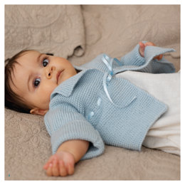 """Garter Stitch Matinee Jacket"" - Jacket Knitting Pattern For Babies in Debbie Bliss Baby Cashmerino"