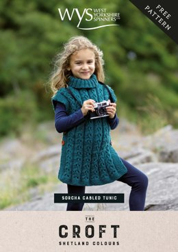 Sorcha Girls Cabled Tunic  in WYS The Croft Shetland Colours - Downloadable PDF