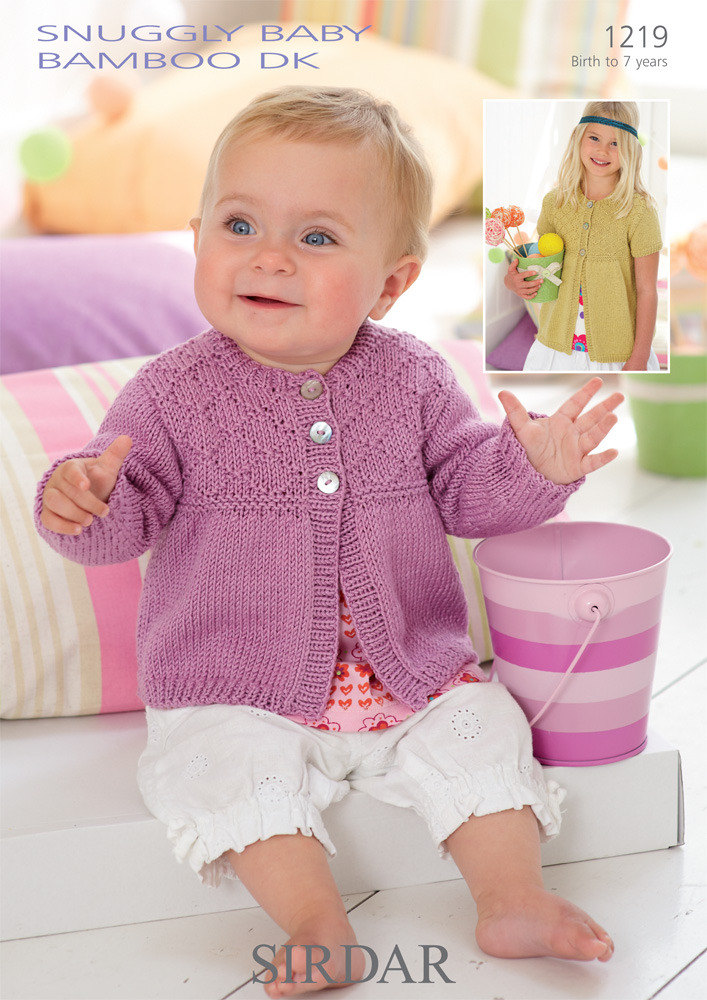 Free Baby Knitting Patterns Dk : Cardigans in Sirdar Snuggly Baby Bamboo DK - 1219 - Downloadable PDF