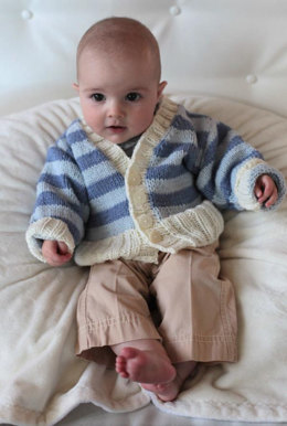 Striped Baby Cardigan in Plymouth Yarn Dandelion - 2251 - Downloadable PDF
