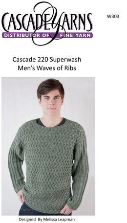 Men's Waves of Ribs in Cascade 220 Superwash - W303