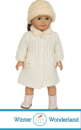 Winter Coat Pattern for 18 inch Doll, Knitting Pattern , Doll Clothes