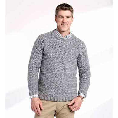 Adult's Crochet Crew Neck Pullover in Caron Simply Soft Heathers - Downloadable PDF