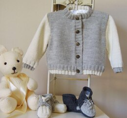 Baby two tone sweater with matching boots - P032