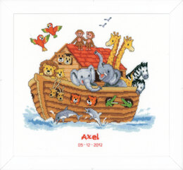 Vervaco Noah's Ark Birth Sampler Cross Stitch Kit - 33cm x 31cm