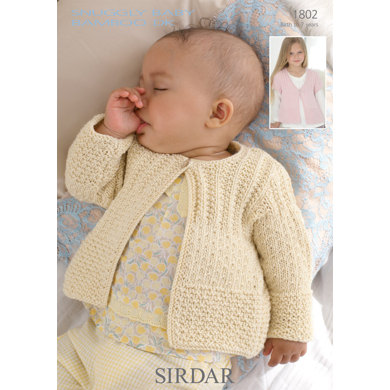 Sirdar Knitting Pattern Abbreviations : Cardigans in Sirdar Snuggly Baby Bamboo DK - 1802 - Downloadable PDF