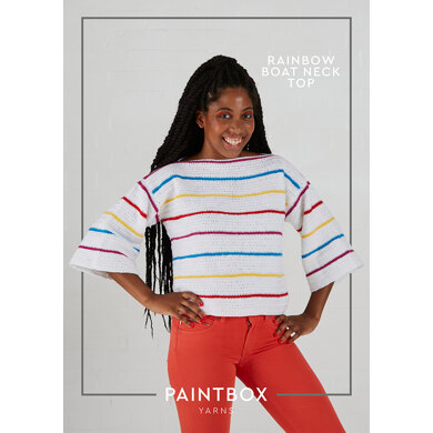 Rainbow Boat Neck Top : Top Crochet Pattern for Women in Paintbox Yarns DK | Light Worsted Yarn