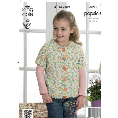Girls' Sweater and Cardigan in King Cole Popsicle - 3891