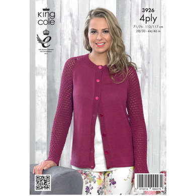 Ladies' Cardigan in King Cole Bamboo Cotton 4 Ply - 3926