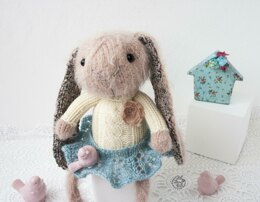 Pink cute Bunny knitted flat