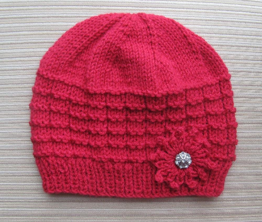 Red Hat in Waffle Stitch with a Knit Flower for a Lady Knitting pattern by Ye...