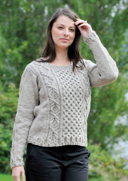 Gentle Aran Pullover in Cascade Ecological Wool - A152