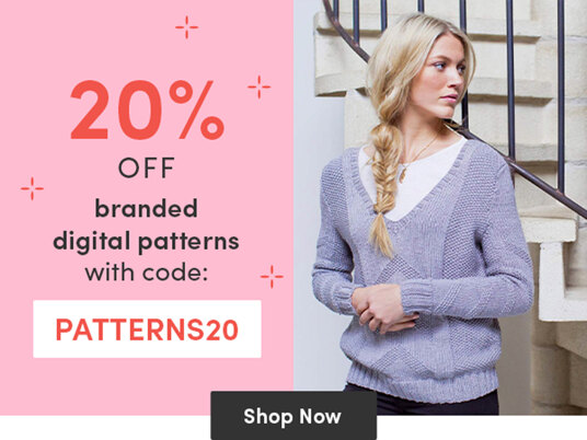 20 percent off branded digital knitting & crochet patterns with code PATTERNS20