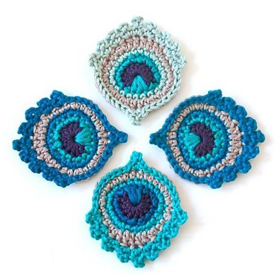 Crochet Motif Or Garland Small Peacock Feather Crochet Pattern By