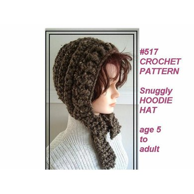 517, SNUGGLY  crochet WOOLY HOOD HAT, age 5 to adult