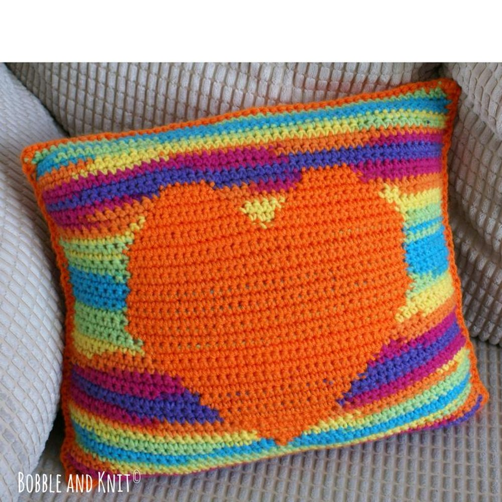 Carnival Heart Pillow Us Version Crochet Pattern By Bobble And Knit