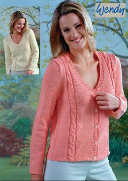 d29ba7ec4621 V-Neck Sweater and Cable Panel Cardigan in Wendy Supreme Cotton DK