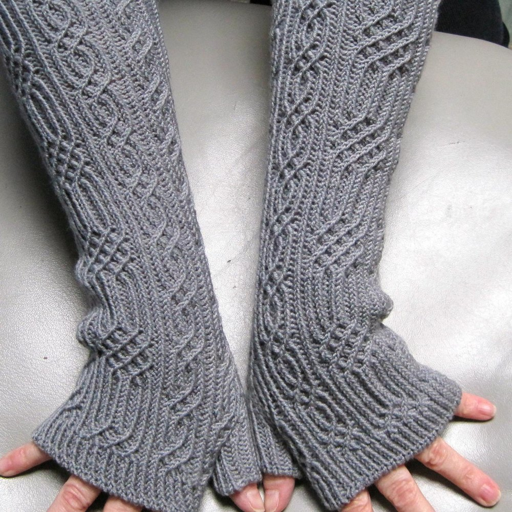 Elger Long Fingerless Mitts Knitting pattern by Linda Lehman
