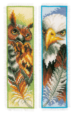 Vervaco Eagle & Owl 2pk Bookmark Cross Stitch Kit