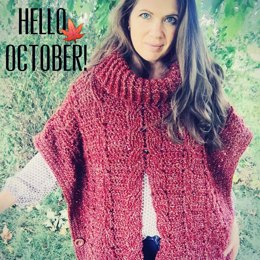 Autumn Breeze Cabled Poncho