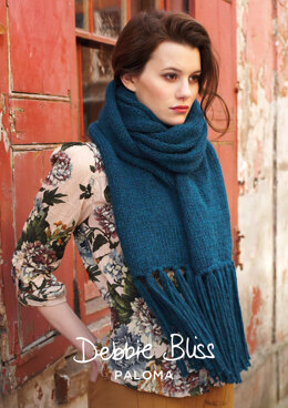 """Adaline Scarf"" - Scarf Knitting Pattern For Women in Debbie Bliss Paloma - DBS009"