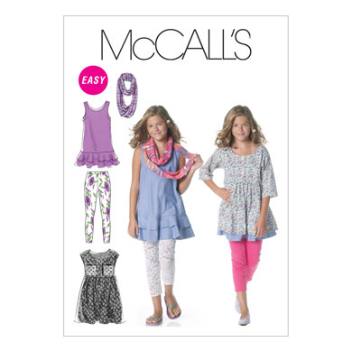 McCall's Girls'/Girls' Plus Dresses, Scarf and Leggings M6275 - Sewing Pattern